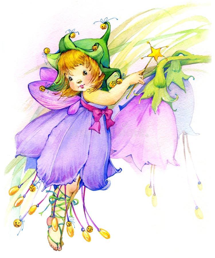 Floresça o fairy Desenho da aguarela ilustração do vetor