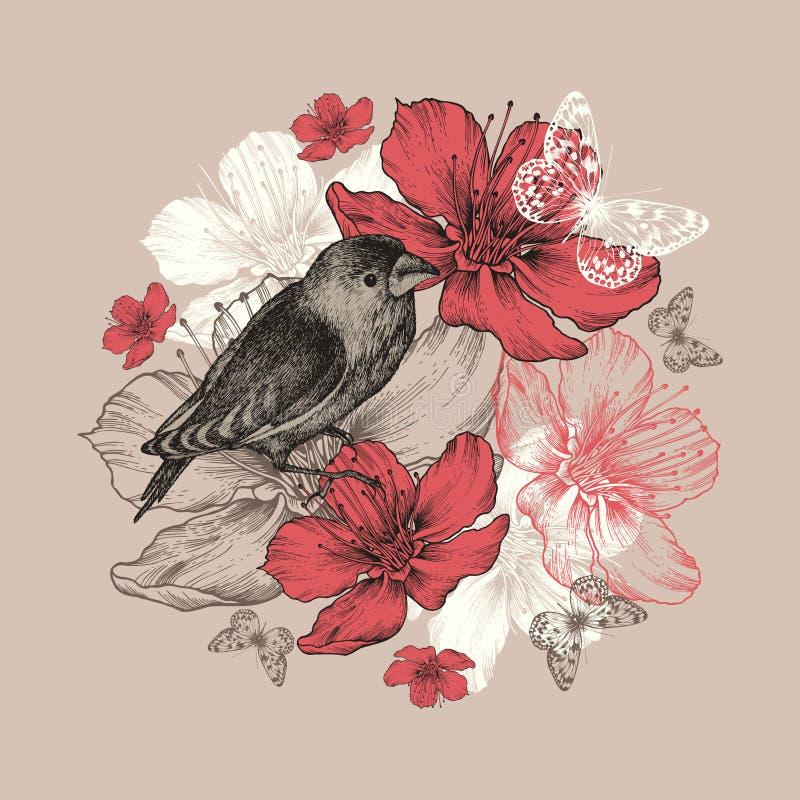 Floresça o fundo com pássaro, borboleta e floweri ilustração stock