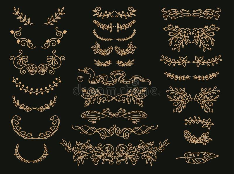 Floresça o grupo dos divisores do texto do vetor Enfeites florais dourados do vintage, grinaldas ilustração do vetor