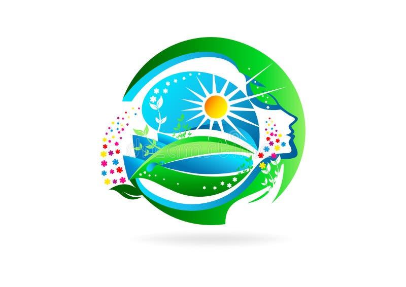 floresça o logotipo fêmea, símbolo saudável da menina, projeto de conceito natural da mulher do aroma ilustração do vetor