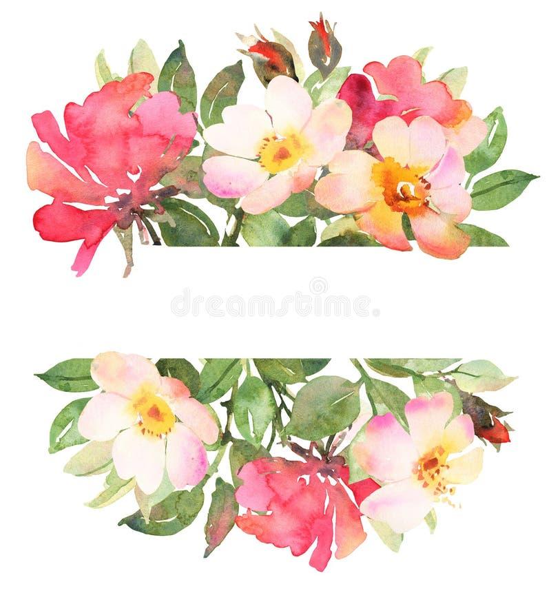 Floresça o ramalhete boêmio com as rosas cor-de-rosa e vermelhas ilustração do vetor