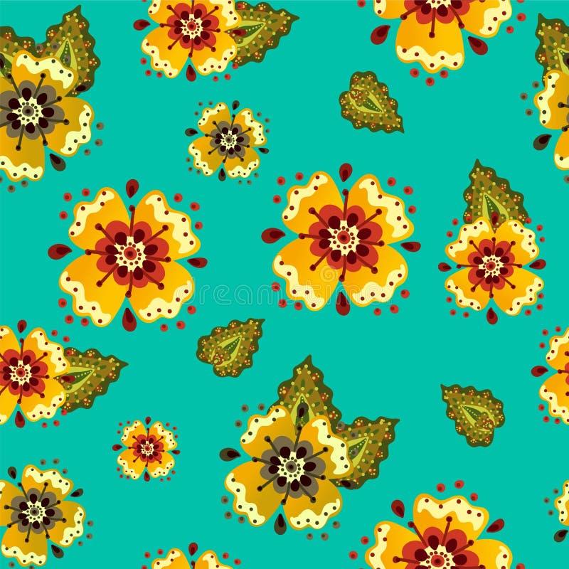 Floresça o teste padrão abstrato retro brilhante dos desenhos animados com flores ilustração stock