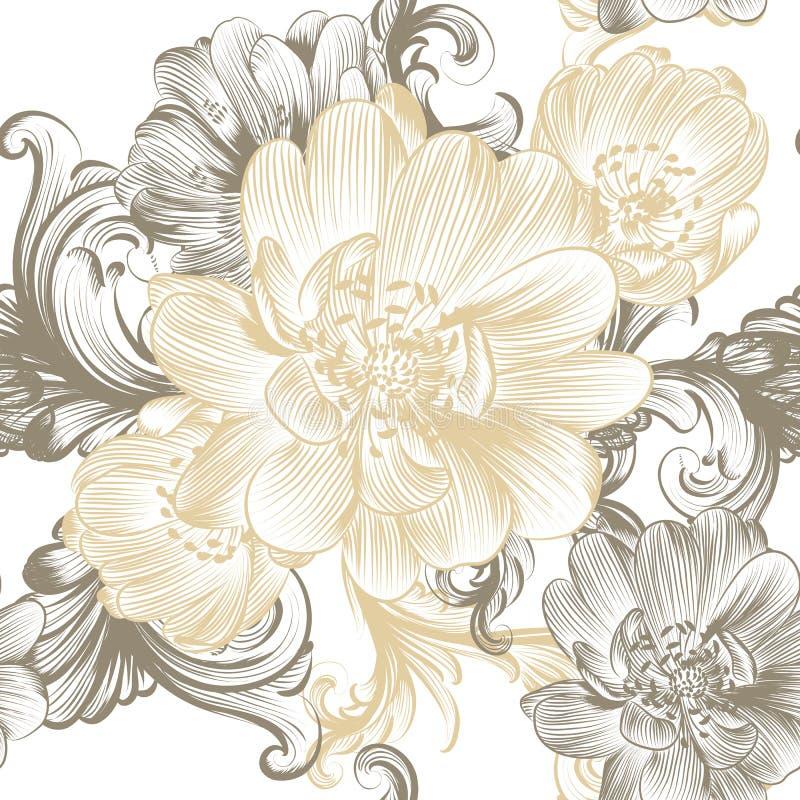 Floresça o teste padrão sem emenda com as flores tiradas mão nas cores pastel ilustração royalty free