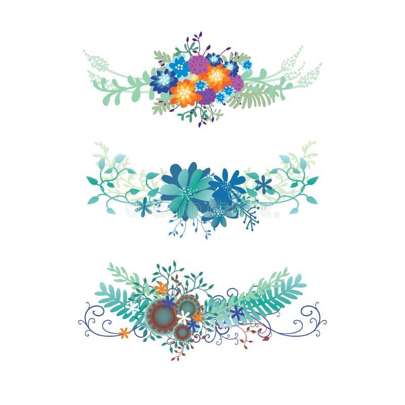 Floresça o vetor da beira com videiras da hera, samambaias, e flourishes da onda em um elemento do projeto do ramalhete considera ilustração royalty free