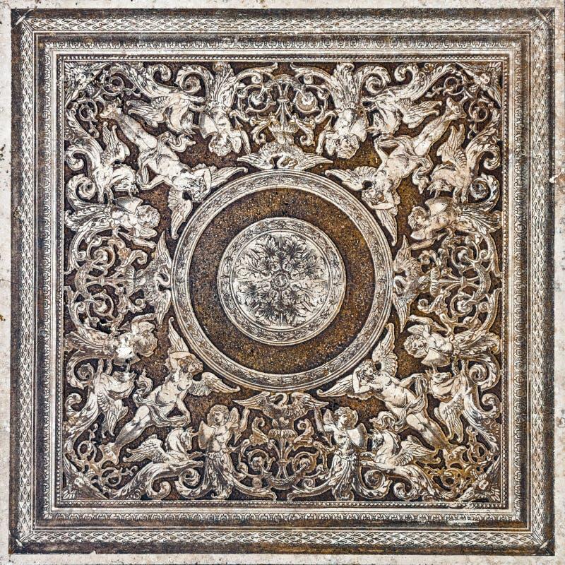 Floresça a textura clássica do mármore do travertino da telha decorativa do vintage fotografia de stock