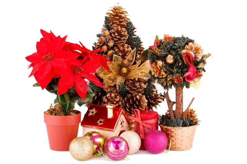 Flores, árbol de navidad y decoración de la baya del acebo fotos de archivo libres de regalías