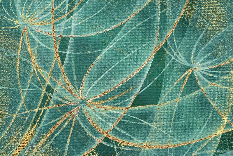 Flores abstractas de los dientes de león con las rayas y los puntos de oro del moho stock de ilustración