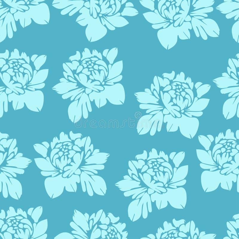 Flores abstractas en los tonos azules, modelo inconsútil Fondo floral de la vendimia Brotes ligeros en una oscuridad Para el dise stock de ilustración