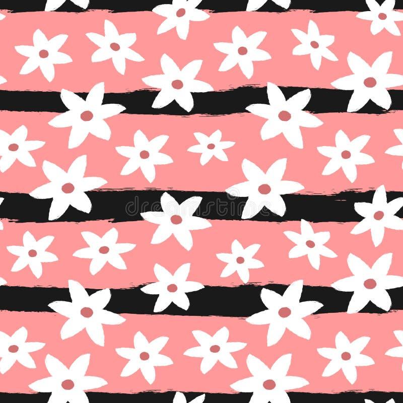 Flores abstractas lindas en fondo rayado Modelo inconsútil floral femenino stock de ilustración