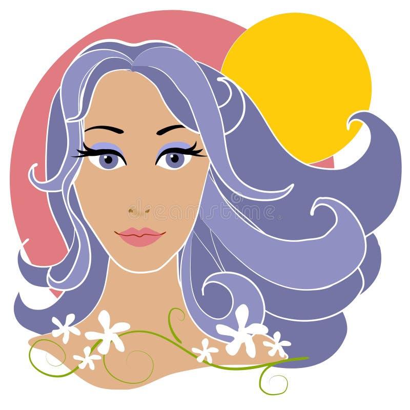 Flores abstractas y Sun de la mujer ilustración del vector