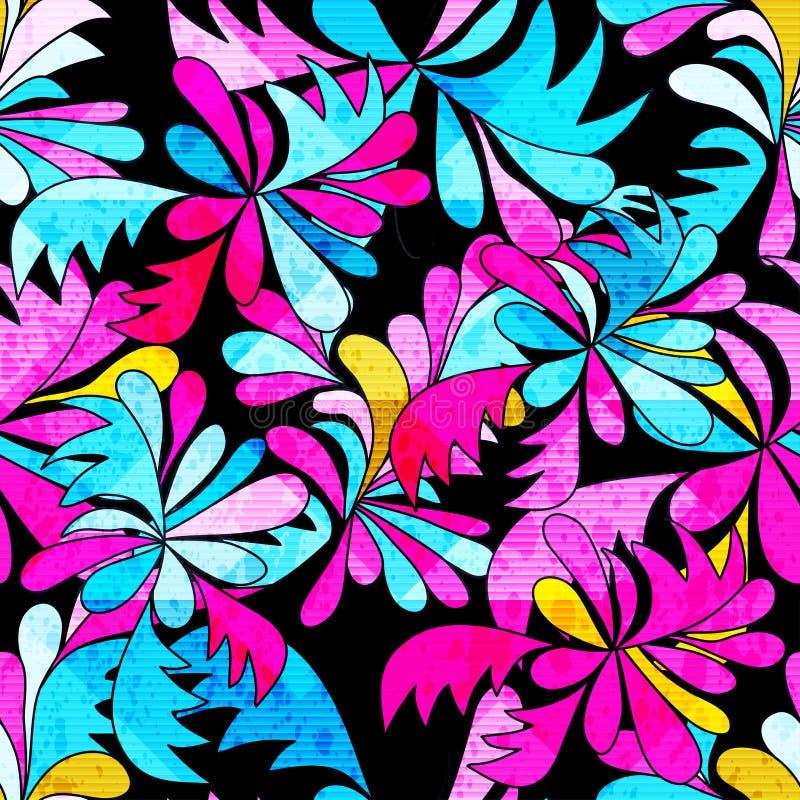 Flores abstratas brilhantemente coloridas em uma ilustração sem emenda do teste padrão do fundo preto ilustração stock