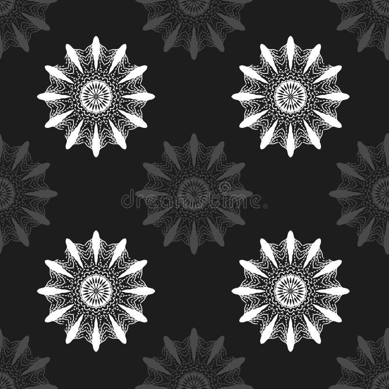 Flores abstratas cinzentas no teste padrão sem emenda do fundo preto ilustração royalty free