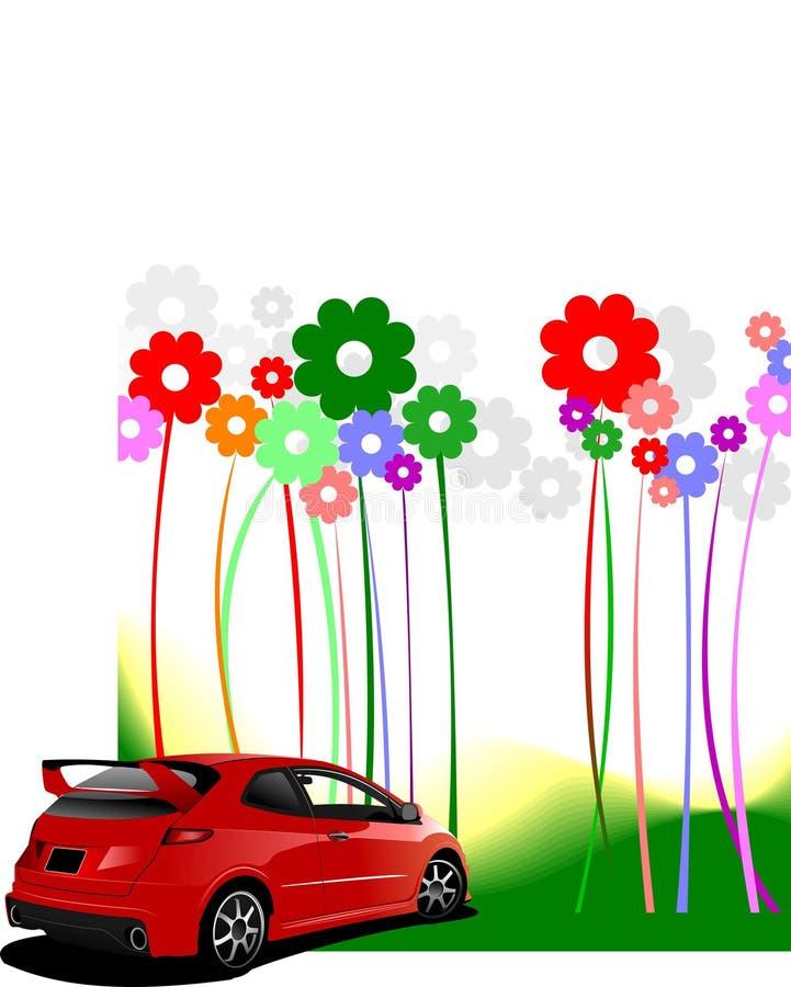 Flores abstratas com imagem vermelha do carro ilustração stock