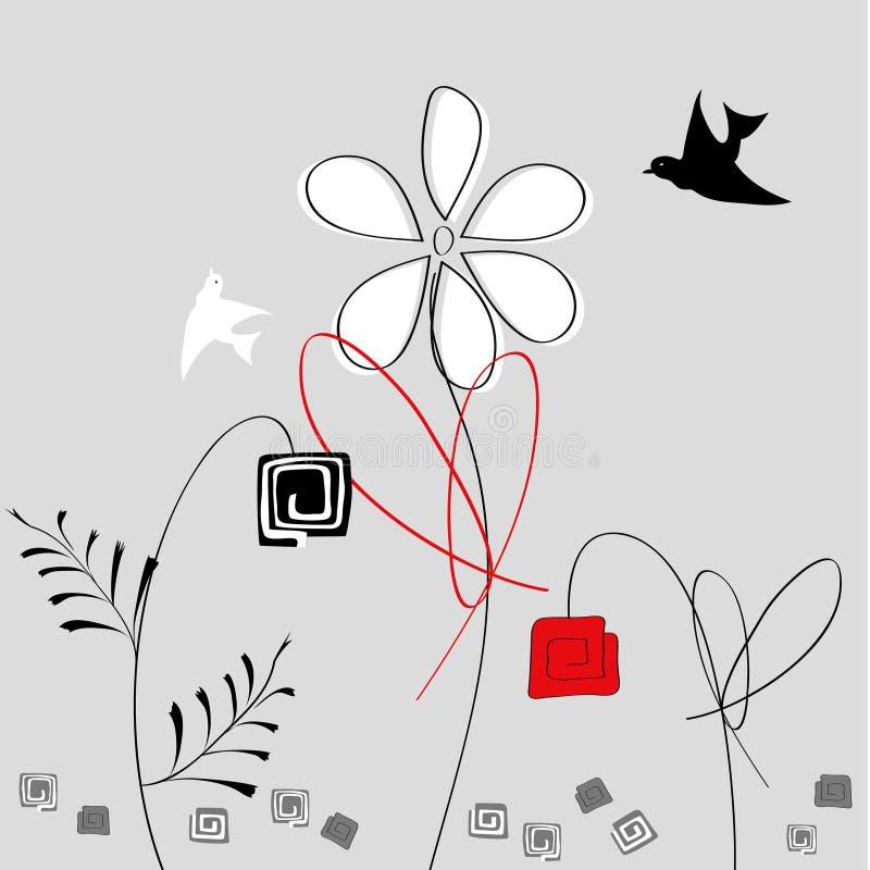 Flores abstratas com pássaros ilustração royalty free