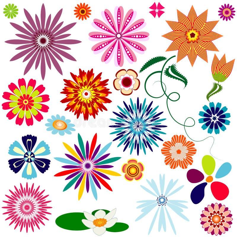 Flores abstratas da coleção ilustração royalty free