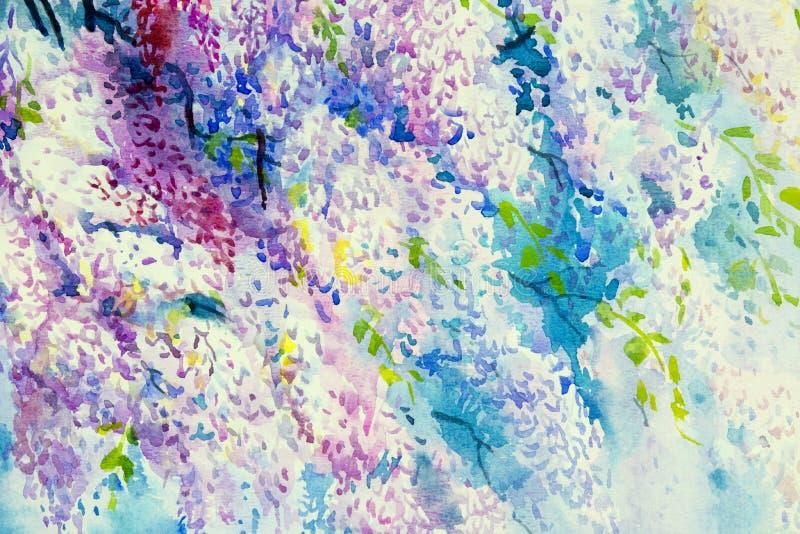 Flores abstratas da glicínia da aquarela ilustração do vetor