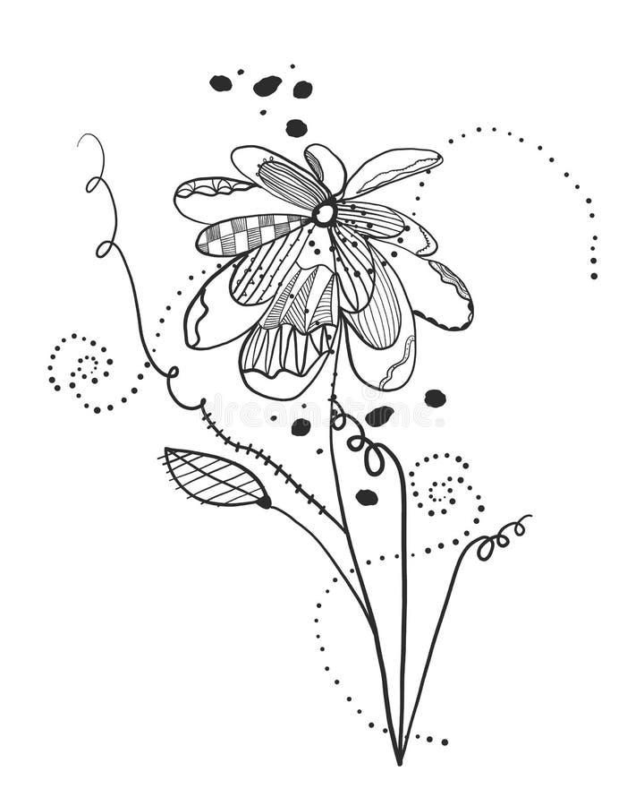 Flores abstratas das horas de verão Teste padrão abstrato do design floral do projeto da tatuagem ilustração do vetor