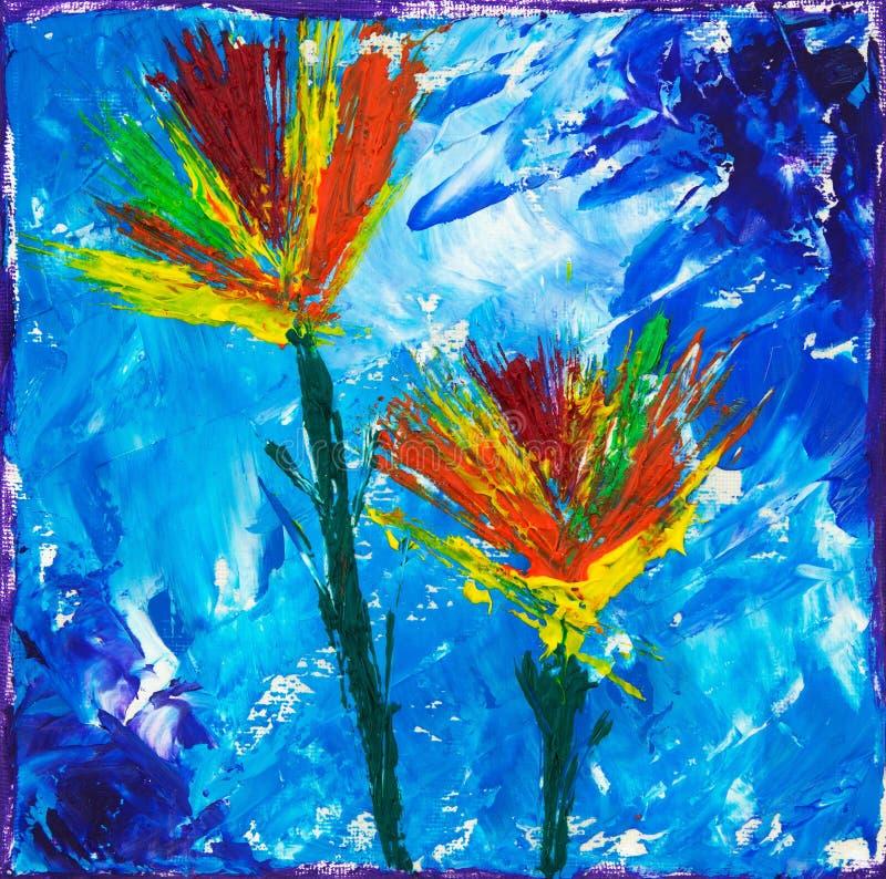 Flores abstratas no fundo azul ilustração royalty free