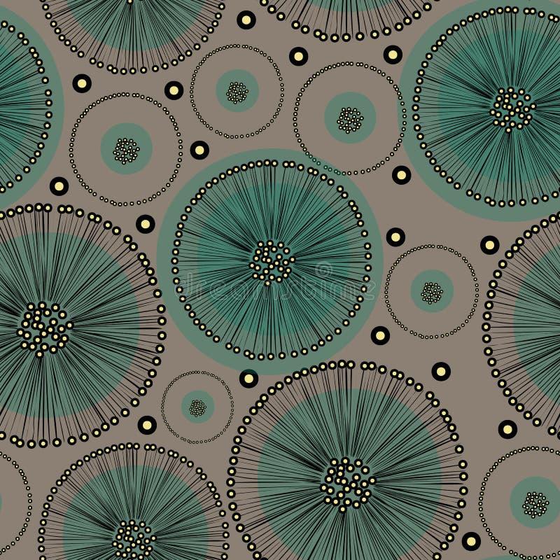 Flores abstratas tiradas mão do dente-de-leão de turquesa no esboço preto no fundo bege ilustração royalty free