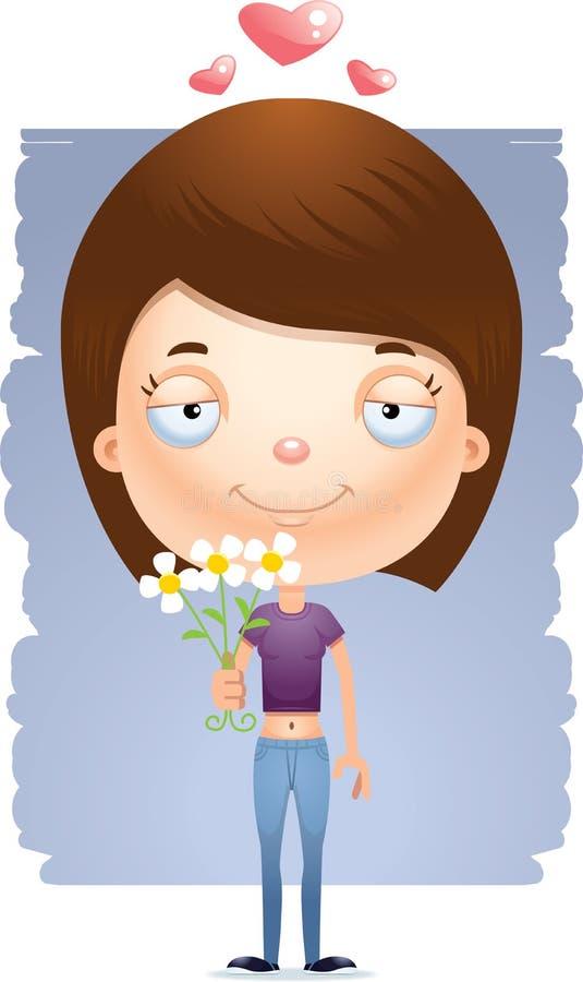 Flores adolescentes da menina dos desenhos animados ilustração royalty free