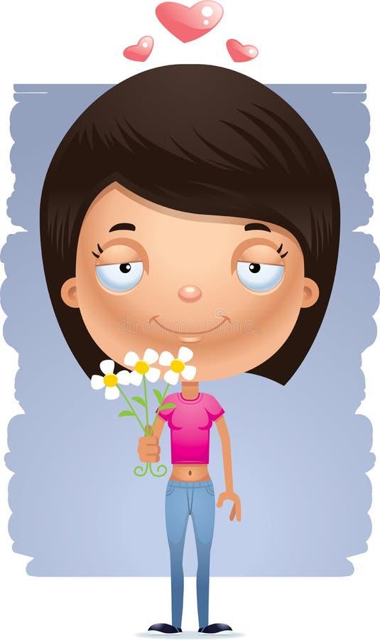 Flores adolescentes da menina dos desenhos animados ilustração do vetor