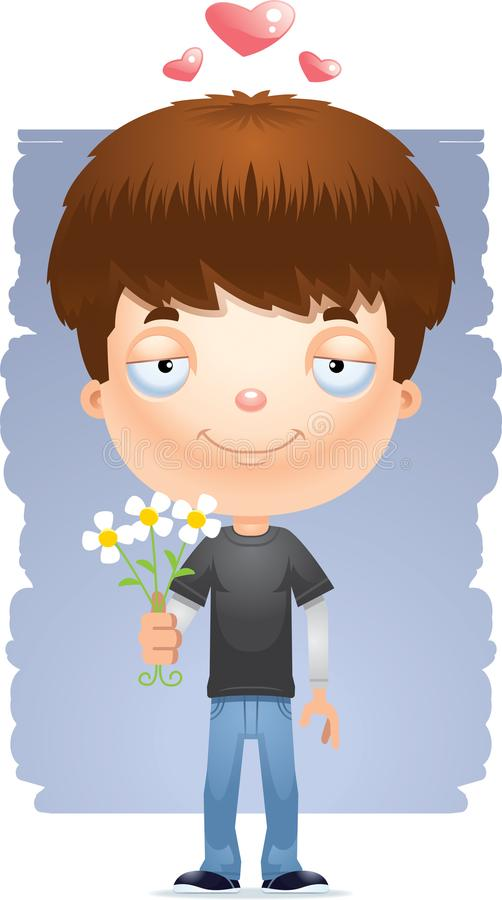 Flores adolescentes do menino dos desenhos animados ilustração do vetor