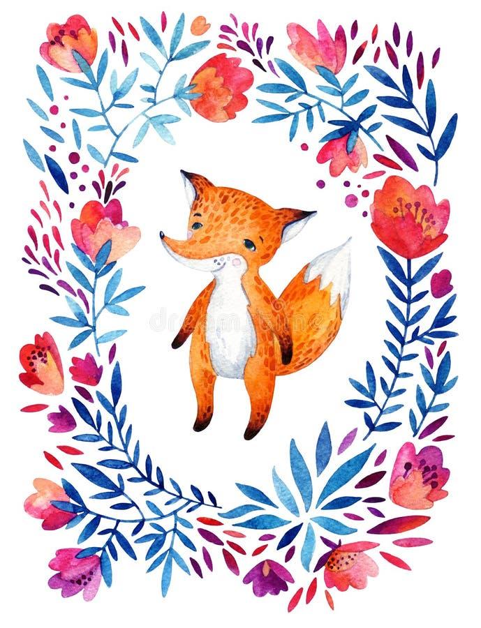 Flores adornadas de la acuarela y zorro lindo ilustración del vector