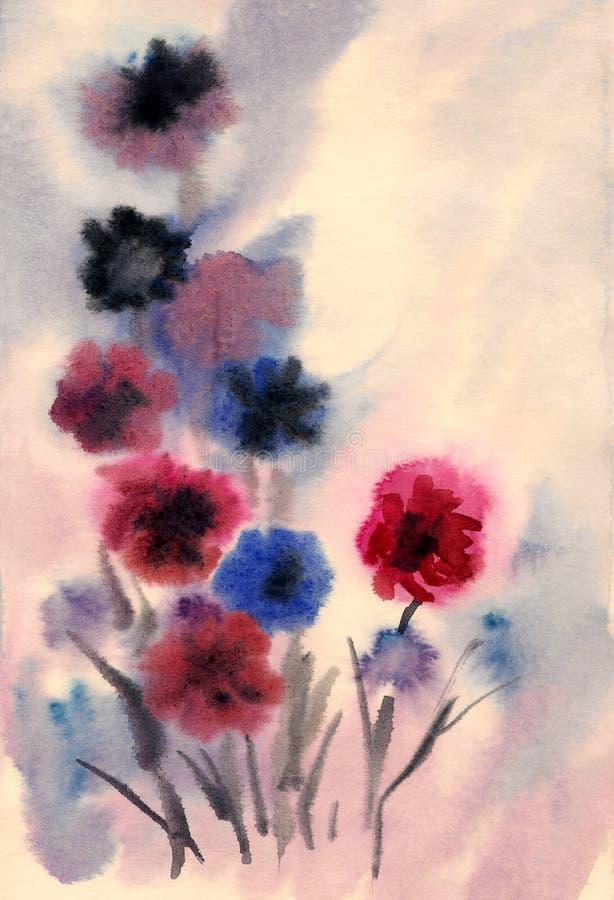 Flores agradáveis pintadas na aguarela ilustração royalty free