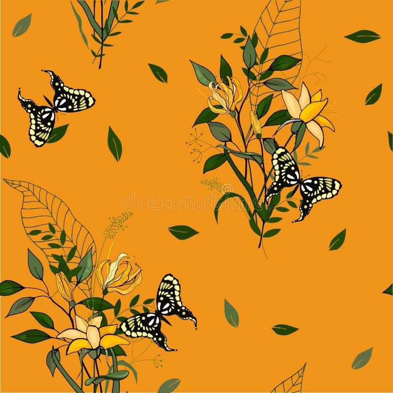 Flores aisladas realistas florecientes Mano drenada Illustra del vector ilustración del vector