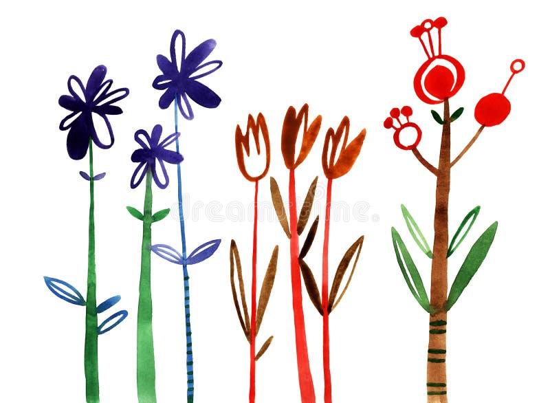 Flores ajustadas Coleção floral colorida com folhas e flores, aquarela de tiragem ilustração royalty free