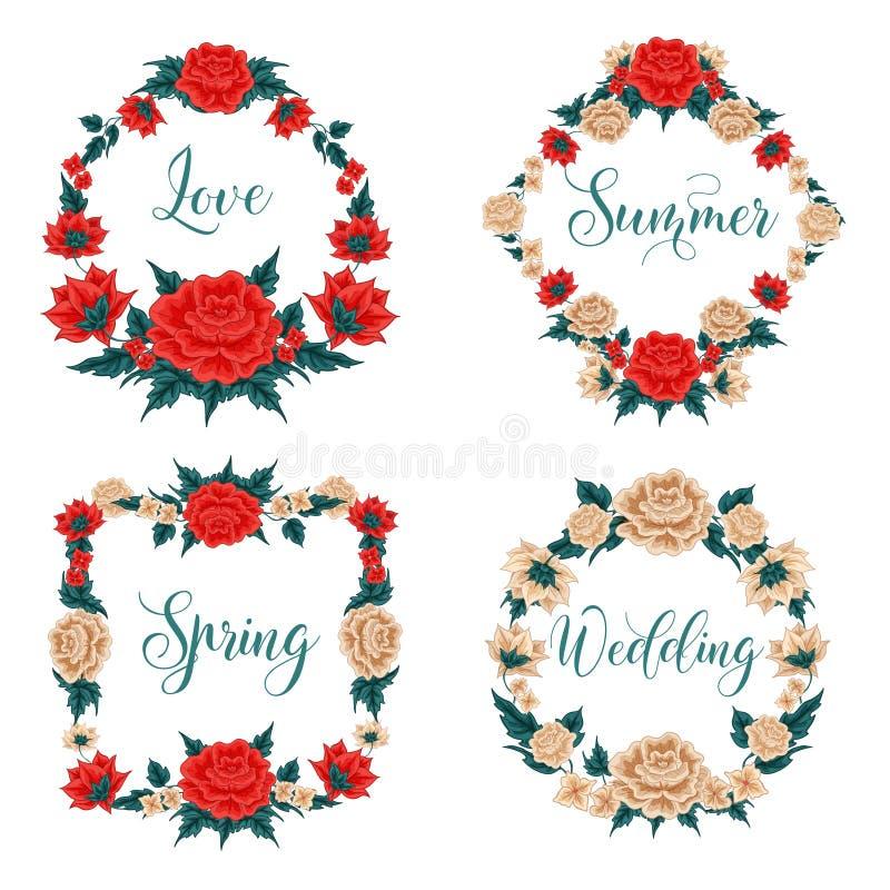 Flores ajustadas Frames florais Rosas vermelhas Rosas brancas ilustração do vetor