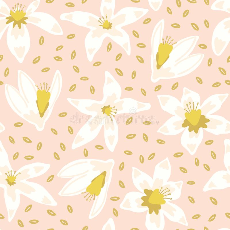 Flores alaranjadas da flor com o jardim na moda das folhas ilustração stock