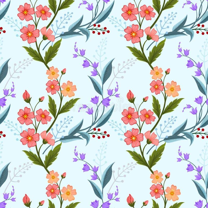 Flores alaranjadas e roxas na luz - teste padrão sem emenda da cor azul ilustração stock