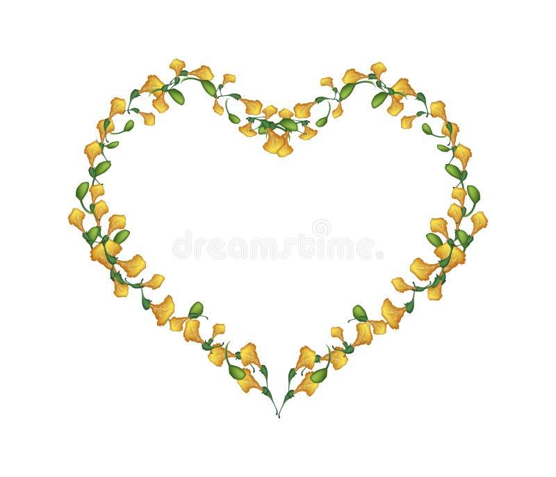 Flores amarelas bonitas de Padauk na forma do coração ilustração royalty free
