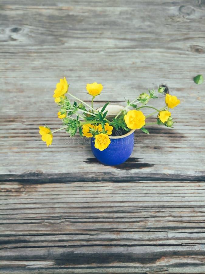 Flores amarelas do campo no vaso azul foto de stock