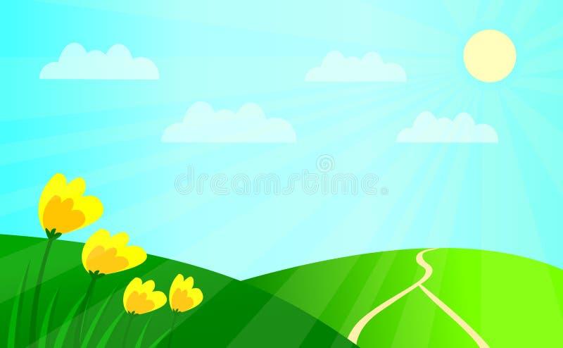 Flores amarelas nos montes ilustração royalty free