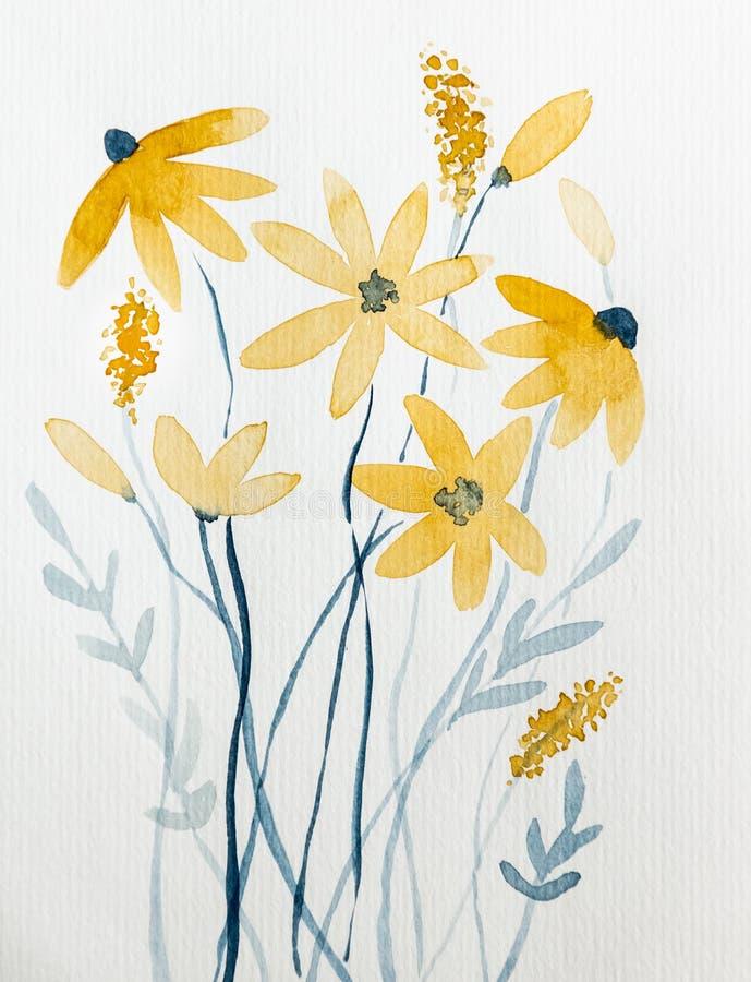 Flores amarelas tiradas com aquarela imagens de stock royalty free