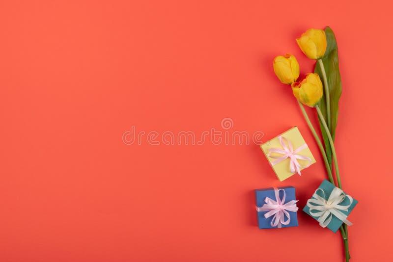 Flores amarillas de los tulipanes, fondo coralino de la caja de regalo n Endecha plana del cumpleaños festivo Saludo para el d?a  fotos de archivo libres de regalías