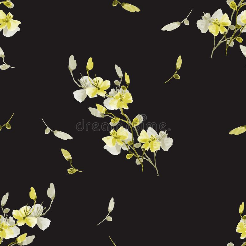 Flores amarillas del modelo inconsútil pequeñas y grises del ciruelo de cereza en el fondo negro Acuarela -2 stock de ilustración