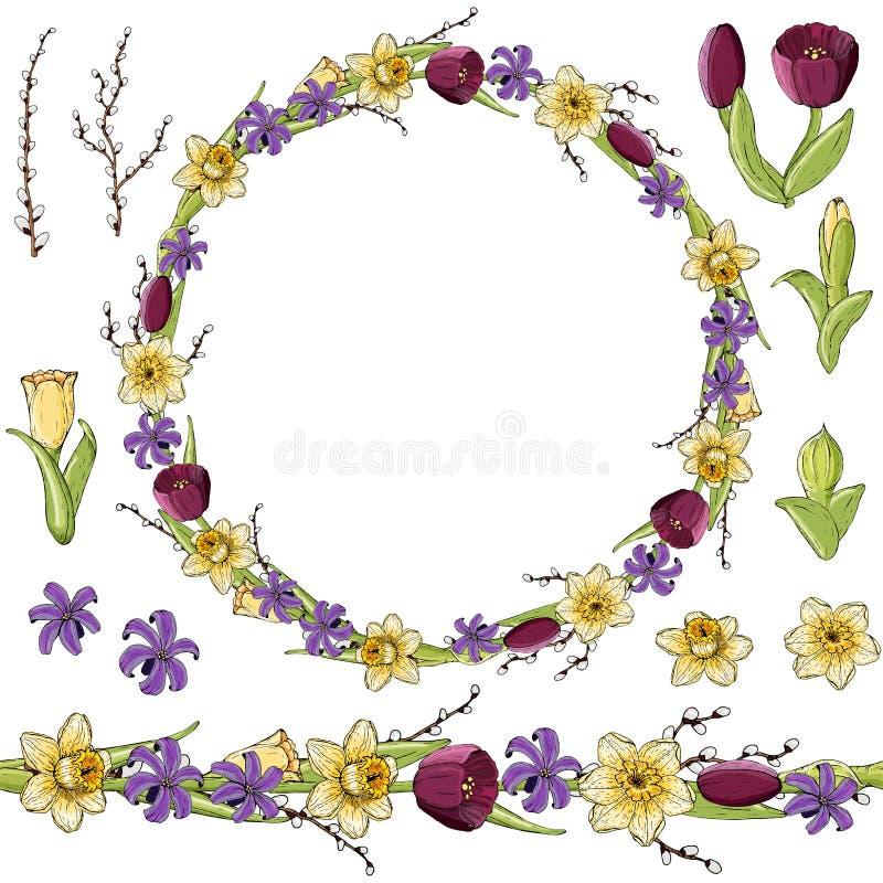 Flores amarillas del narciso Guirnalda roja del Paeonia libre illustration