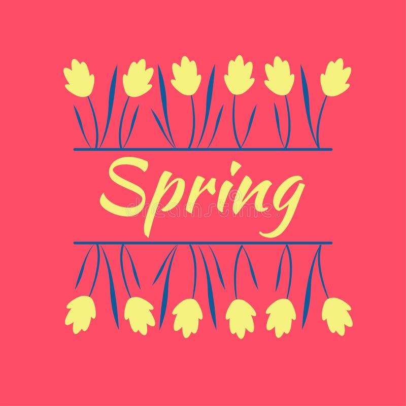 Flores amarillas hermosas del resorte Humor del resorte Primavera y flores libre illustration