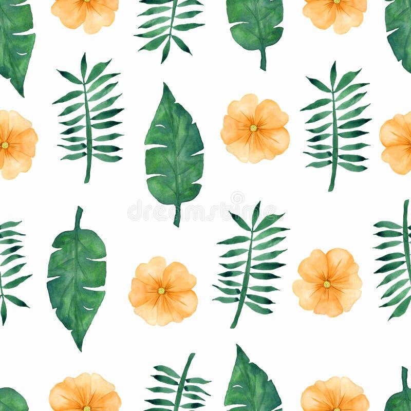 Flores amarillas tropicales del drenaje de la mano y modelo verde de las hojas en el fondo blanco stock de ilustración