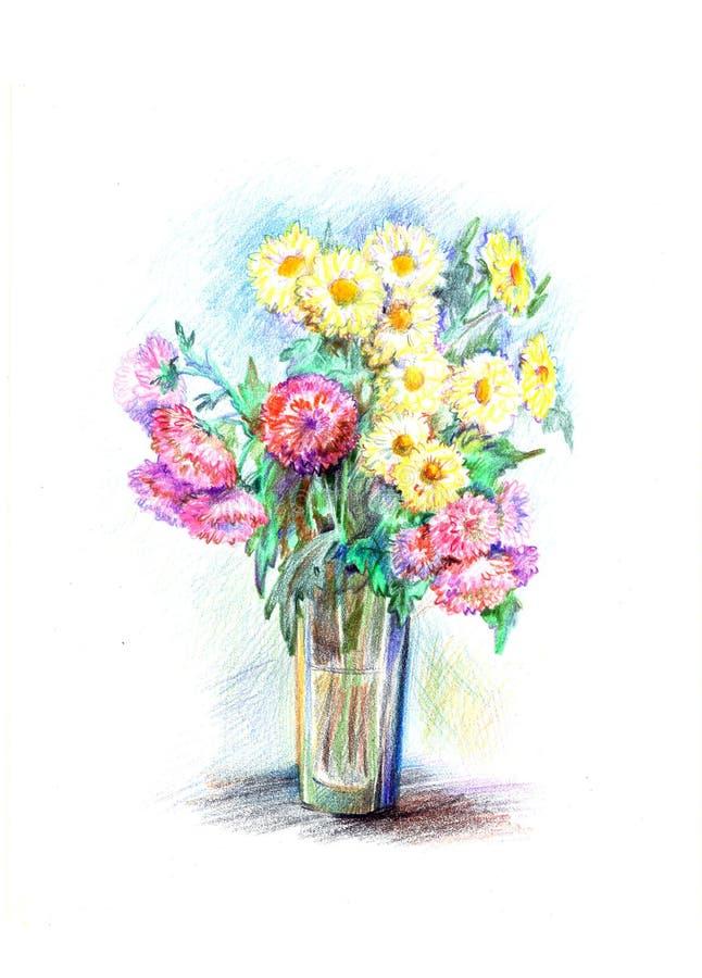 Flores amarillas y rojas ilustración del vector