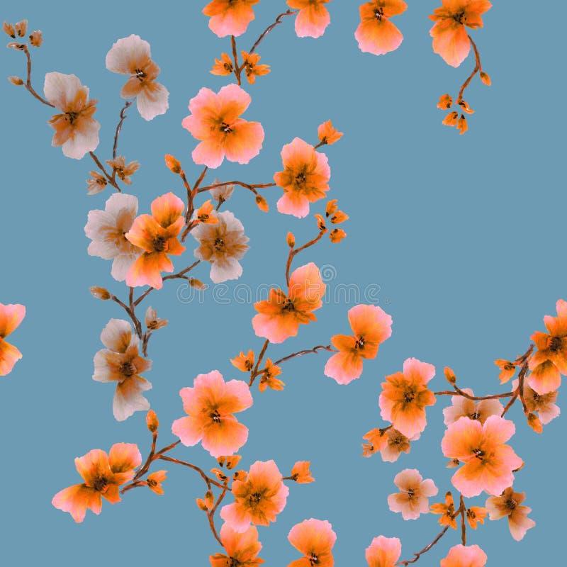 Flores anaranjadas del modelo inconsútil de la acuarela en un fondo de la serenidad stock de ilustración