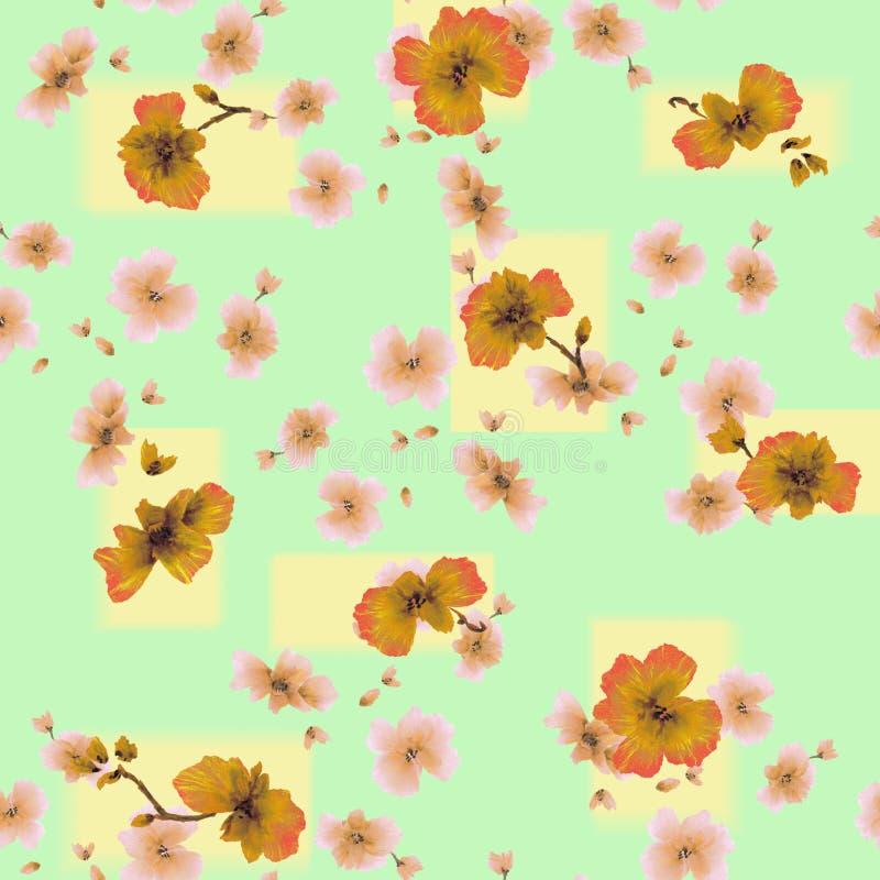 Flores anaranjadas del modelo inconsútil de la acuarela en un fondo verde-amarillo stock de ilustración