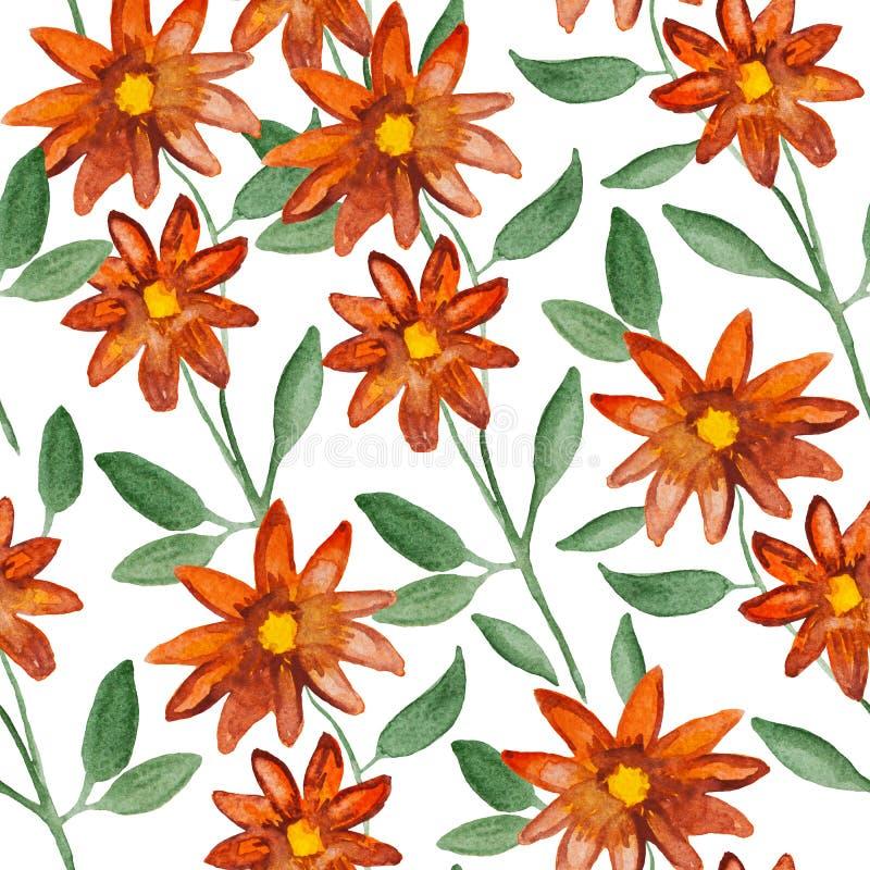 Flores anaranjadas en la planta de la rama, pintura de la acuarela - modelo inconsútil floral en el fondo blanco ilustración del vector