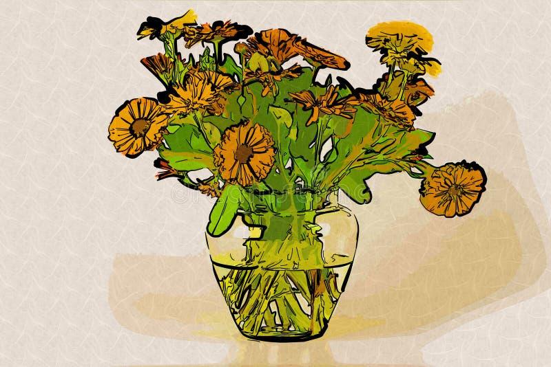 Flores anaranjadas en un florero con agua fotografía de archivo libre de regalías