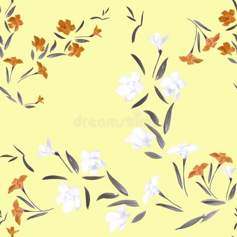 Flores anaranjadas y blancas del modelo inconsútil en un fondo amarillo stock de ilustración