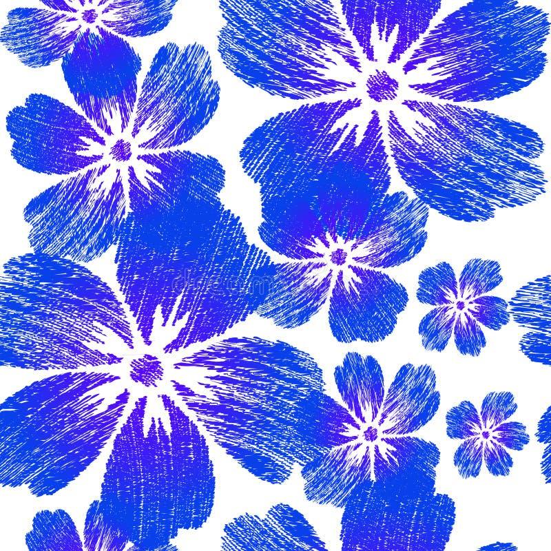 Flores azuis bordadas no teste padrão sem emenda do fundo branco fotos de stock royalty free
