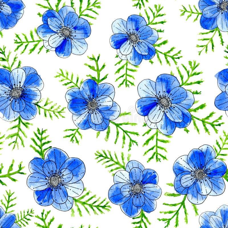 Flores azuis da aquarela com as folhas isoladas no fundo amarelo Ilustração pintado à mão do esboço ilustração do vetor